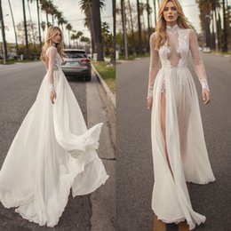 Berta Black Summer Dresses Australia - Muse By Berta 2018 Wedding Dresses High Neck Illusion Long Sleeve Summer Beach Bridal Gowns Side Split Floor Length Wedding Dress