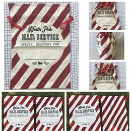 Candy stripe bags online shopping - Stripes Drawstring Canvas Christmas Sack Bags Candy Gift Bag Santa Christmas Tree Party Holders Kids toy candy storage bag FFA1113