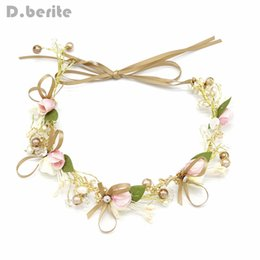 Wholesale Fashion Flower Wedding Floral Crown Head Wreath Pearl Hairband Bridal Tiara Girl Children Hair Accessories YLM9353