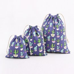canvas jewelry NZ - Cactus Printing Canvas Drawstring Bags Fashion Christmas Gifts String Bag Top Quality Jewelry Pouches Cotton Sacks Toy Storage Bag