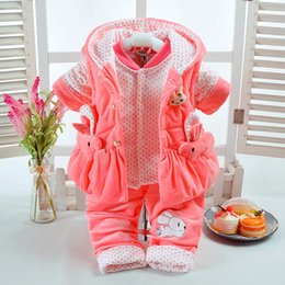 Wholesale 2017 Autumn Winter Baby Girl Clothes Set Rabbit Style Add Cotton Padded Warm T Newborn Infant Baby Set Walking Dress Y18102208