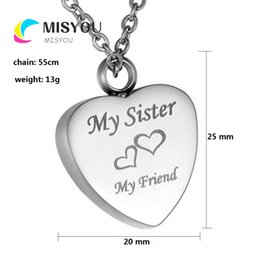 cremation jewelry silver 2021 - Custom-made flat heart, a variety of text pet funeral cremation ashes box necklace pendant fashion jewelry