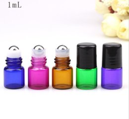 Discount price perfumes - top colorful purple blue 1ML Perfume Amber Mini Glass Bottle Amber Sample Vial 1cc Small Essential Oil Bottle Factory pr