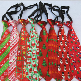 Xmas ties online shopping - kids Christmas Neck Tie fashion children Santa Claus snowman deer print Party dress up Tie kids Xmas Performance Tie KKA5874