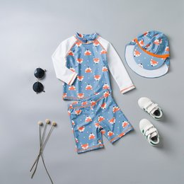 Wholesale Baby Boys Swimsuit Girl Children s Swimsuit Kids Bathing Suit Baby Boy Swimwear Hat Suits Infant Swimwear for T