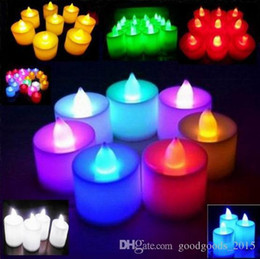 Battery Powered LED Candle Multicolor Lamp Simulation Color Flame Flashing Tea Light Home Wedding Birthday Party Decoration c567 from unique ties suppliers