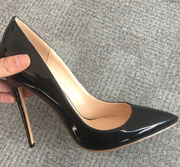 Chinese  Luxury pointed women shoes sexy patent leather 8.5cm 10cm 12cm stiletto heels wedding party pumps 18 colors big size 35-44 manufacturers