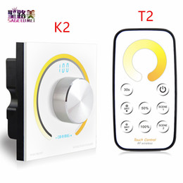 24v dc dimmer switch NZ - Rotary CCT touch panel dimmer Switch knob RF wireless remote color temperature controller for 5050 led strip light DC12V-24V