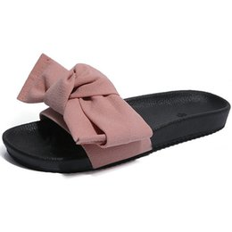Green Summer Sandals Canada - Size 35-40 2018 New Fabric Bowknot Summer Slippers Women Flat Heels Sandals Ladies Comfort Outdoor Shoes Pink Red Black Green