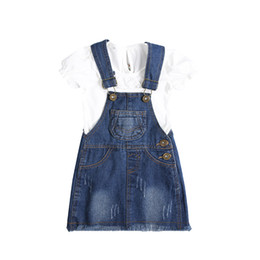 ab74f8921b Fashion Summer Baby Kids Children Girls Tops T-shirt+Denim Jeans Overalls  Dress 2pcs Infants Princess Clothes Set Outfits S6818