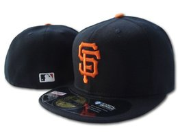 Discount black baseball caps - Wholesale On Field Men's Giants fitted hat flat Brim embroiered SF letter team logo fans baseball Hat top quality g