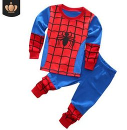 Yellow children pajamas online shopping - 2019 European and American Boys Spider Iron Man Child Set Cotton Tracksuit Pajamas Two sets of long sleeved trousers