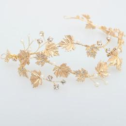 Hecho a mano Boho Gold Leaf Tiara Diadema de la boda Rhinestone Nupcial del pelo de la vendimia Accesorios Pieza Joyería del pelo de las mujeres