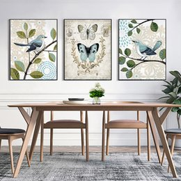 wall decor art canvas butterflies 2019 - Modern A4 Art Prints Nordic Minimalist Pictures Butterfly Bird On Branch Hanging Posters Decor Living Room Wall Canvas P