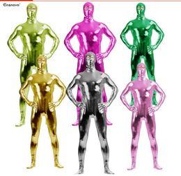 $enCountryForm.capitalKeyWord NZ - 14 Colors.Unisex Spandex Lycra Metallic Zentai Catsuit Back Zipper Open Eyes