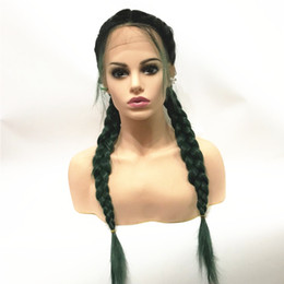 Discount ombre black blue braiding hair - Twist Braids Wig Black Ombre Brown green blue bug Two Colors Long Synthetic Lace Front Wigs with Baby Hair Heat Resistan