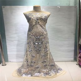 Discount nigeria embroidery lace dresses - Luxury French Laces Embroidery African Sequin Lace Fabric Blue Silver Guipure Lace Fabric For Nigeria Dress A904-2