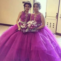 Wholesale 2018 Fuchsia Ball Gown Quinceanera Dresses Jewel Tired Appliques Crystal Beaded Sash Vestidos De Anos Prom Party Gowns For Sweet