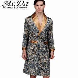 918c47ca0e 2016 Summer Faux Silk Satin Bath Robe Casual Nightgown Vintage Printed Long  Bathrobe Homme Men Pijama Sleepwear Robes