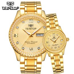 men women couple watches Australia - TEINTOP Brand Couple Watch Men Women Automatic Mechanical Watches Gold Luxury Clock Diamond Dial Relogio Masculino Lover Gift