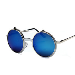 Chinese  New Luxury sunglasses for women flip metal frame double color film round unisex glasses steampunk Personalized retro glasses manufacturers