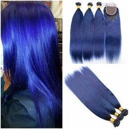 blue human hair weave Australia - Virgin Brazilian Dark Blue Ombre Human Hair Weaves with Top Closure Straight #1B Blue Ombre 4x4 Front Lace Closure with Bundles Deals