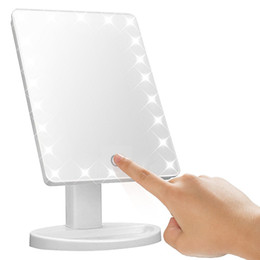 China Make Up LED Mirror 360 Degree Rotation Touch Screen Make Up Cosmetic Folding Portable Compact Pocket With 22 LED Light Makeup Mirror cheap touch up makeup suppliers