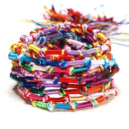 Lucky packs online shopping - Trendy Nepalese National Wind Handmade Rainbow Bracelet Lucky Bangle Friendship Hand Rope Jewelry Pack Support FBA Drop Shipping H675F