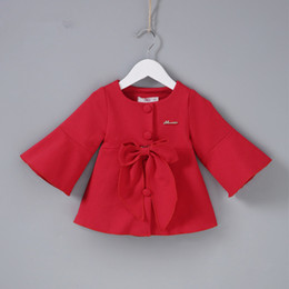 $enCountryForm.capitalKeyWord NZ - Fashion Girls Trench Coats Jackets For Girls Clothing Tops Spring Autumn Kids Christmas New Years Outerwear with Big Bow 0-2Y