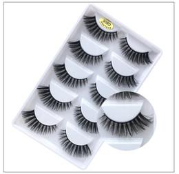 Making False Eyelashes Australia - Mink 3D hair false eyelashes makeup hand-made reusable mink lashes 5 pairs each set thick natural long DHL Free