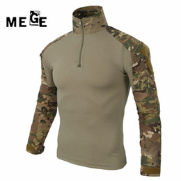 Ghillie suit clothinG online shopping - MEGE multicam army combat shirt uniform tactical shirt with elbow pads camouflage hunting clothes ghillie suit top