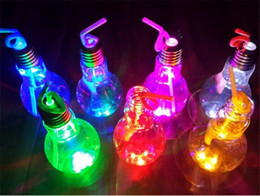 bottle lights NZ - LED Light Bulb Cup Beverage Bottle 400ml 500ml With Lid straw Tea Fruit Juice Drink Bottles cosplay party nigh club bar bulb shape caps