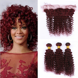 Discount wholesale burgundy peruvian hair - 99J Burgundy Deep Wave Hair 3 Bundles With Lace Frontal 13x4 9A Wine Red Deep Curly Human Hair With Ear To Ear Frontal