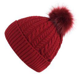 Cute Beanies UK - Women Warm winter hat Cute Pom Pop beanie cap with cashmere female bone knitted beanie hats outdoor ski caps high quality