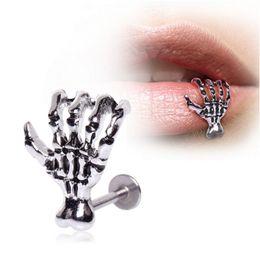 Lip Piercing Wholesale NZ - 1 piece Punk Steel Skull Devil Hand Lip Ring Piercing Jewelry Skeleton Labret for Women Men Palm Stud Earring Body Jewelry Lots Wholesale