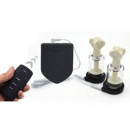Ingrosso Telecomando senza fili Electro Shock Accessorio elettrico Capezzolo Sucker Morsetti Stimolatore Seno Corpo Massaggio Medical Tema Giocattoli