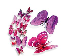Discount green room decor Butterfly model wall stickers home decor simulation butterfly 3d wall plaster bedroom decorative resin crafts PVC butterfly wall paper