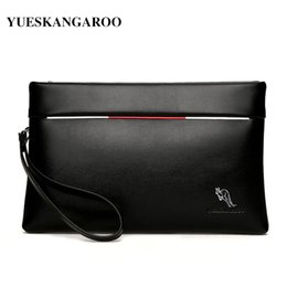kangaroos brand leather bag 2019 - YUES KANGAROO Brand Men Clutch Bag Soft Leather Large Capacity Business Envelope Wallets Casual Handy Purse men's L
