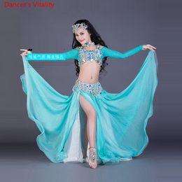 $enCountryForm.capitalKeyWord NZ - Slap-up Customized Child Girls Belly Dance Rhinestone Long Sleeves Top High Split Skirt Suit Performance Competition Costume Indian Oriental