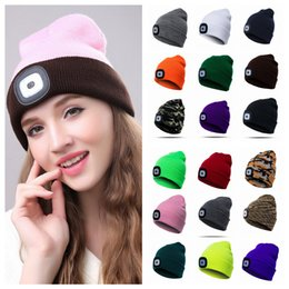 0640ed8fcab80e 18styles Winter LED Light knitted Hat Casual Elasticity Keep Warm Knitting  Cap warm outdoor sport Beanie cycling hat FFA931 20PCS