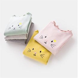 $enCountryForm.capitalKeyWord Canada - Baby Girls Shrits 2018 Childrens Cartoon Cute Wooden Ears Long Sleeve for Kids Clothing Floral Cat T-Shirt