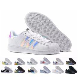 Discount unisex canvas shoes star - 2018 Originals Superstar White Hologram Iridescent Junior Superstars 80s Pride Sneakers Super Star Women Men Sport Runni