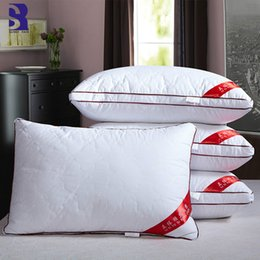 Hollow Fiber Australia - SunnyRain 1-Piece High Resilience Bed Pillows White Pillow for Adults Cotton Shell Cervical Pillows 74x48cm