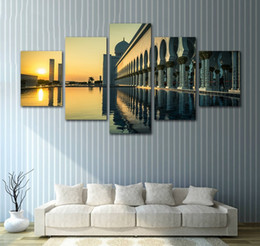 Unframed Canvas Prints Australia - Unframed 5 Piece Home Decor HD Print Wall Art Pictures Grand Mosque Abu Dhabi Sunset Canvas Painting Living Room Natural Landscape Poster