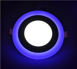 Wholesale Dual Color LED Panel Light White Blue W W W W Recessed Ceiling Downlight Round Square for Living Room Bedroom Lavatory Washroom Kitche
