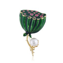 Lacquer China UK - Green Lotus seed Brooch Lacquer Drop Oil Corsage Daily Wear For Women Gift-081