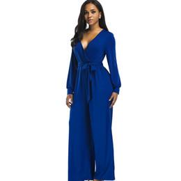 2a74156dbbd5f 2018 sexy V neck Wide Leg Pants Elegant jumpsuits romper Blue Long Sleeve Plus  Size tunic Overalls For Women Combinaison Femme
