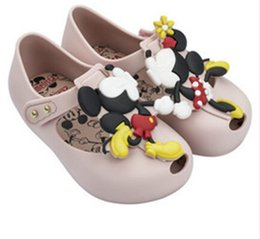 Melissa New Summer Mini Twins Mouse Patrón de Animal Zapatos Jelly Shoe Sandals Girl Non-slip Kids Sandal Toddler