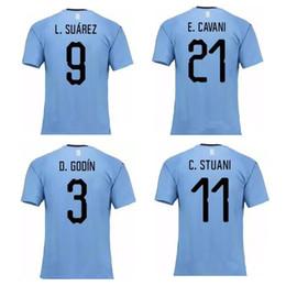 c08470174 Thai 2018 World Cup Uruguay soccer jerseys D.GODIN L.SUAREZ football shirt E .CAVANI jersey J.M.GIMENEZ camisas de futebol
