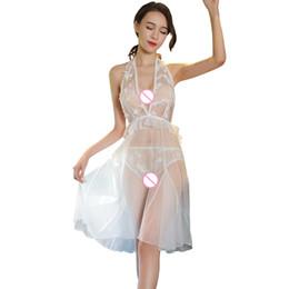 52a92790f Laço branco do casamento Lingerie Sexy Vestido Sem Encosto Halter Vestido  De Penas Oco Transparente Sexy Nightwear Babydoll com Calcinha